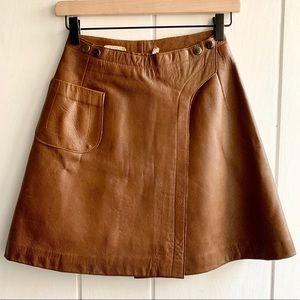 Amazing 1960s Vintage Caramel Leather Mini Skirt